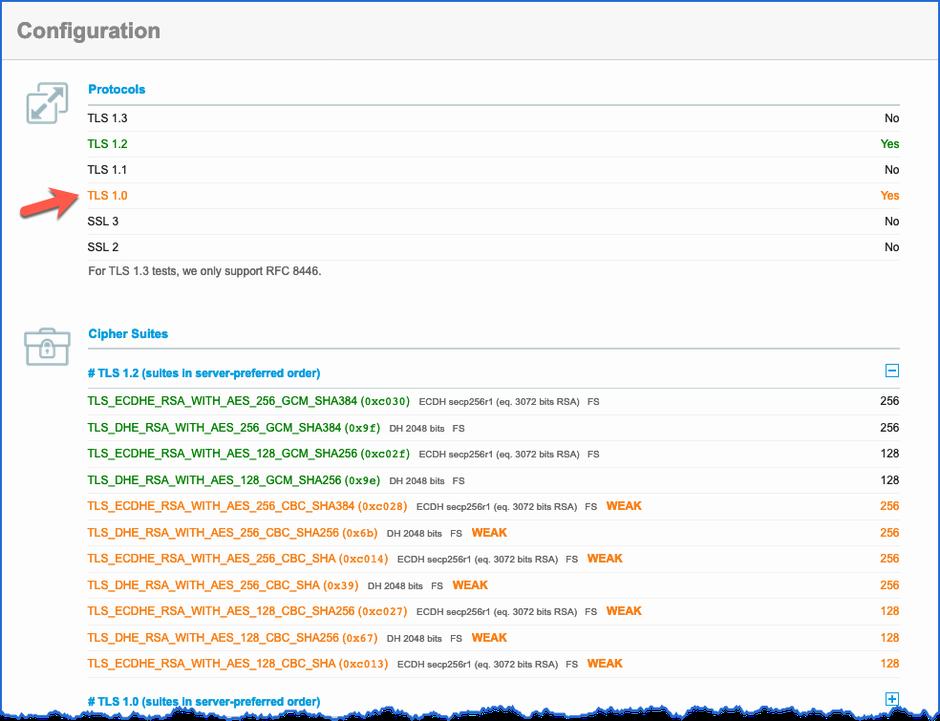 Ergebnis des SSL Server Test - TLS 1.0 ist aktiv