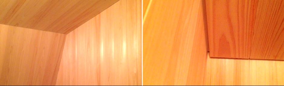 大阪府吹田市のWASH建築設計室はヒノキの香るお風呂を積極的に提案しています。ヒノキの天井には工夫が必要です。