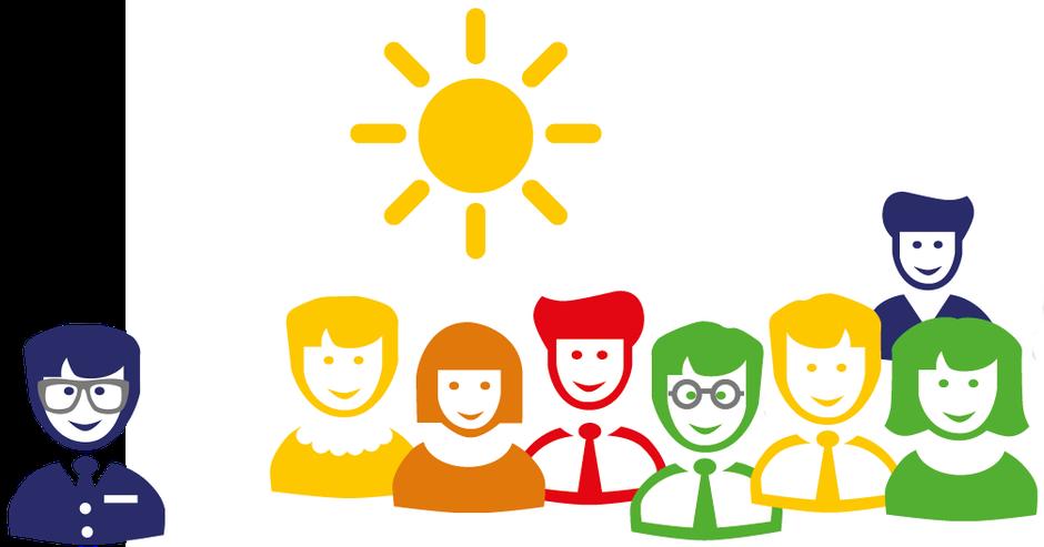 Illustration: Adrettere; Team mit Sonne und agilem Freigeist