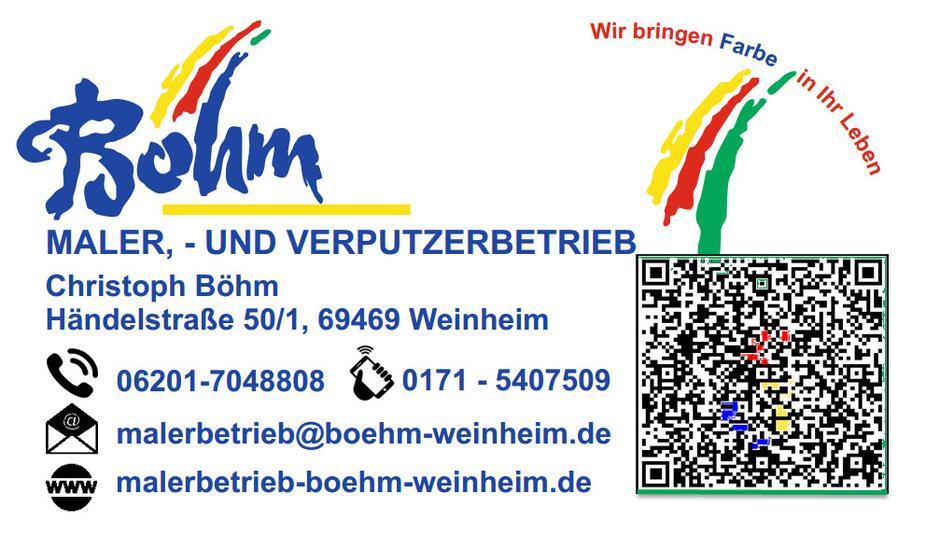 Vistenkarte Maler-und Verputzerbetrieb Böhm in der Händelstraße 50/1 in 69469 Weinheim
