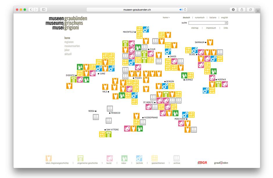 Creative Consulting für Website Museen Graubünden; in Zusammenarbeit mit Norbert Riedi und Ramun Spescha, Chur