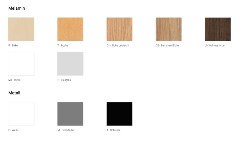 Varianten der Tischplatte und des Tischgestells