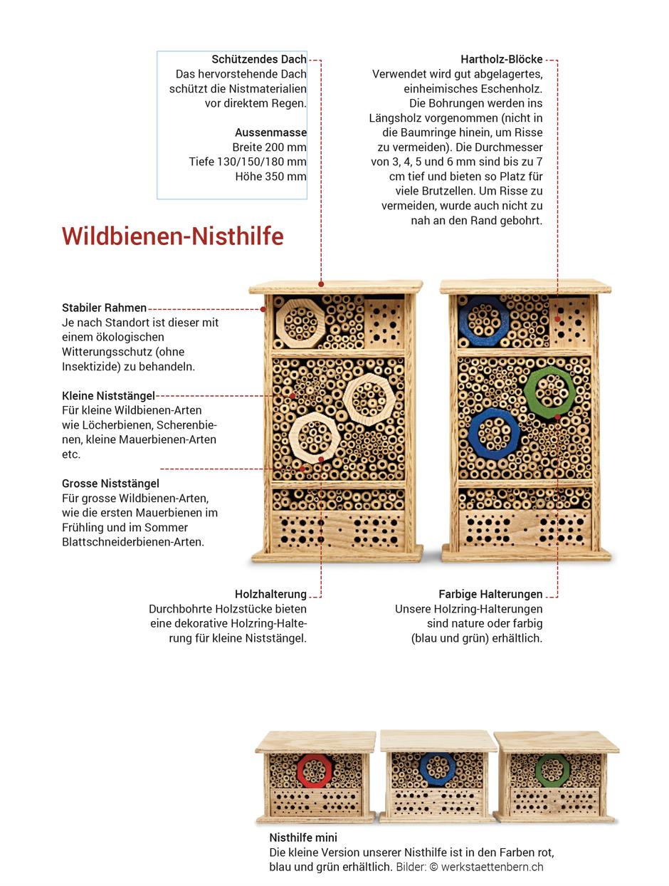 Kurz Beschreibung der Bauteile der Wildbienen Nisthilfe gross und der Wildbienen Nisthilfe klein.
