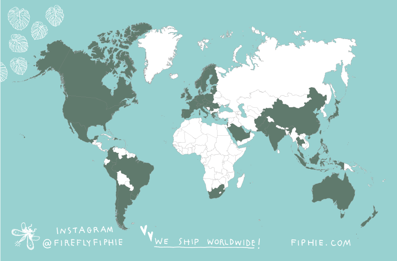 World map of sales of Fiphie's book The Dust Has Grown flowers