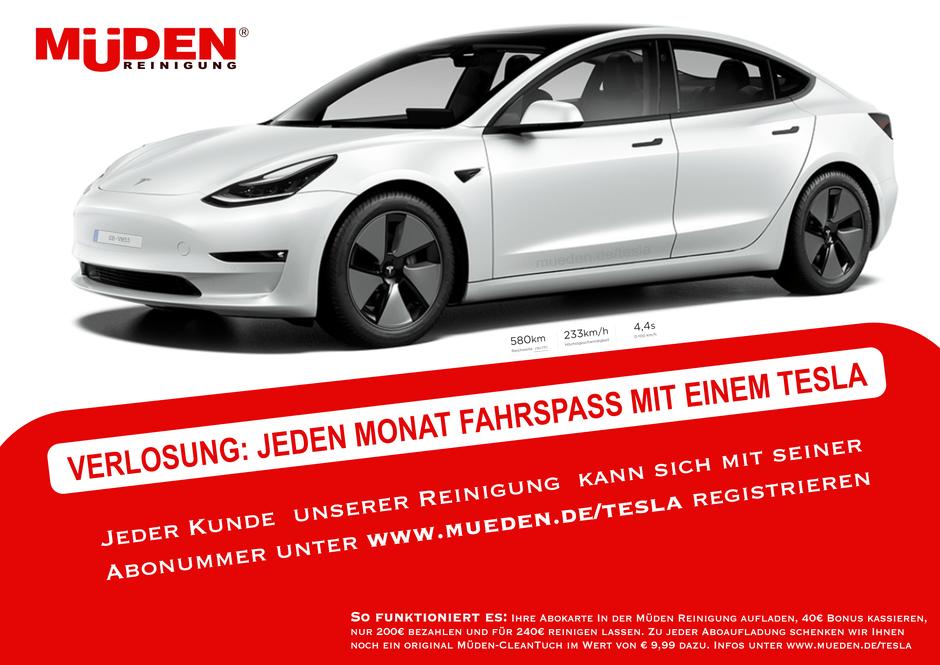 mueden.de, Tesla, Bils von Müden verlost Fahrspass mit einem Tesla