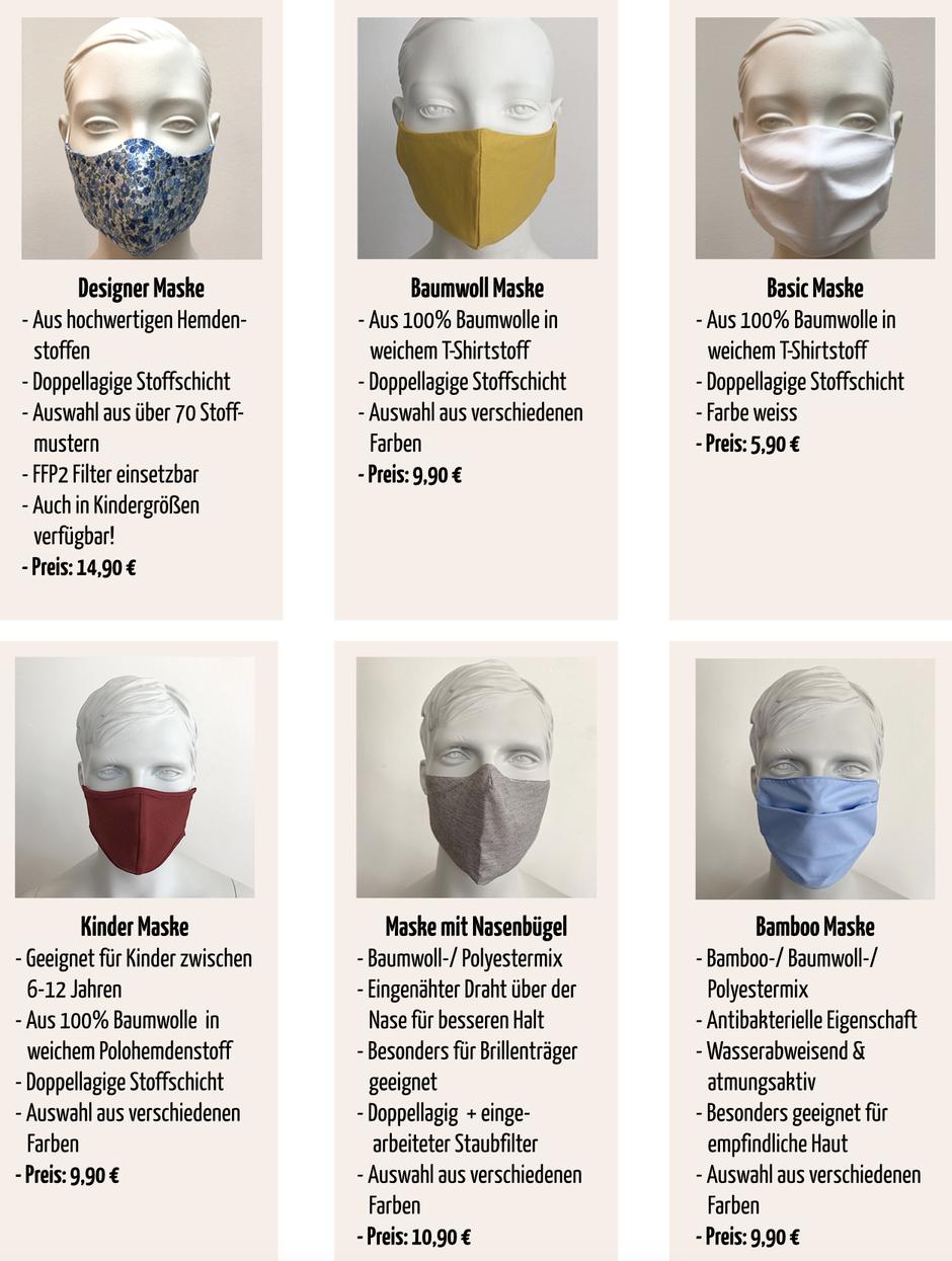 mueden.de, Maßhemd, Befeni-Maske, Bild von Masken auf Kunstköpfen