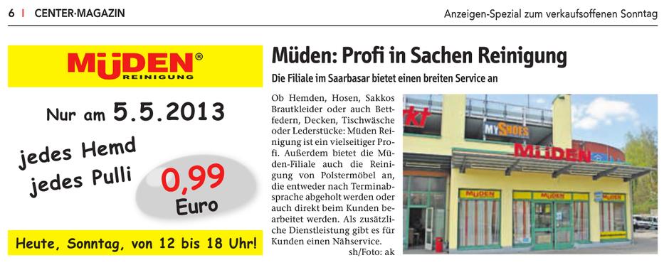 Blog, Pressebericht und Werbung Saarbasar 05.05.2013