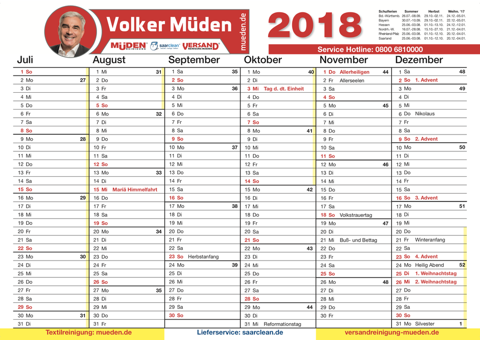 Muedenreinigung,Kalender 2018, Bild Kalender 2018 Back