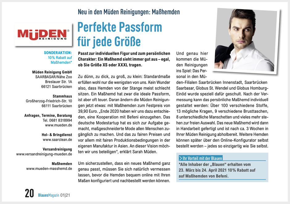 mueden.de, Masshemd, Pressebericht Masshemd, Blaues Blatt Energie SaarLorLux