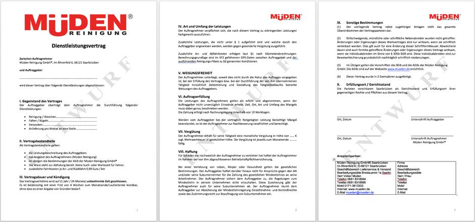 Dienstleistungsvertrag, 3 Seiten mit Müden Logo
