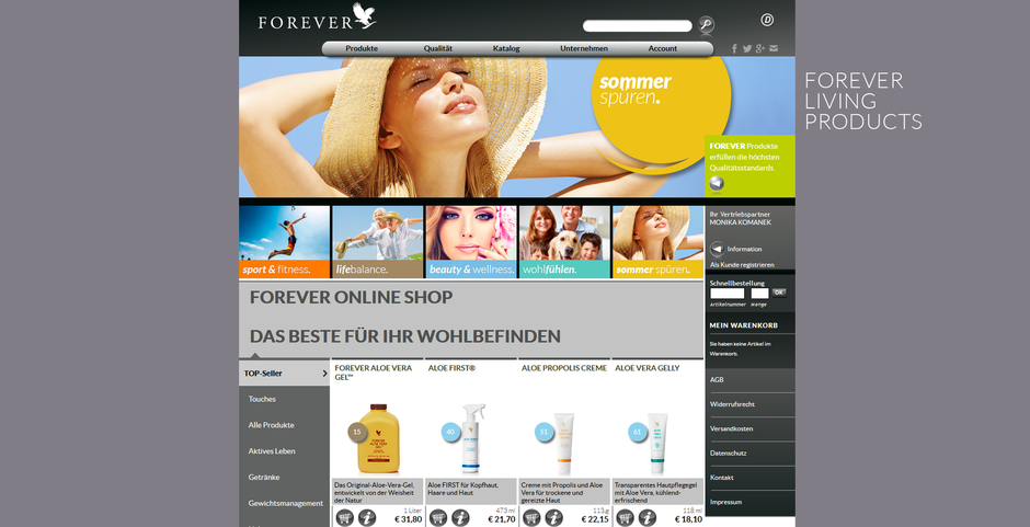 Onlineshop Mokowell Forever Living Products Aloe Vera