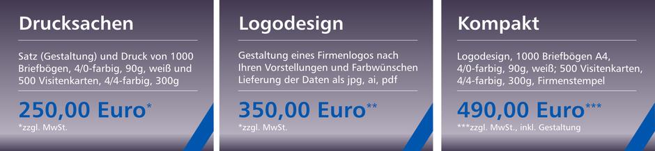 Logodesign 350,00 €, Briefbögen und Visitenkarten 250,00 €, Logo, Briefbögen, Visitenkarten, Stempel 490,00 €