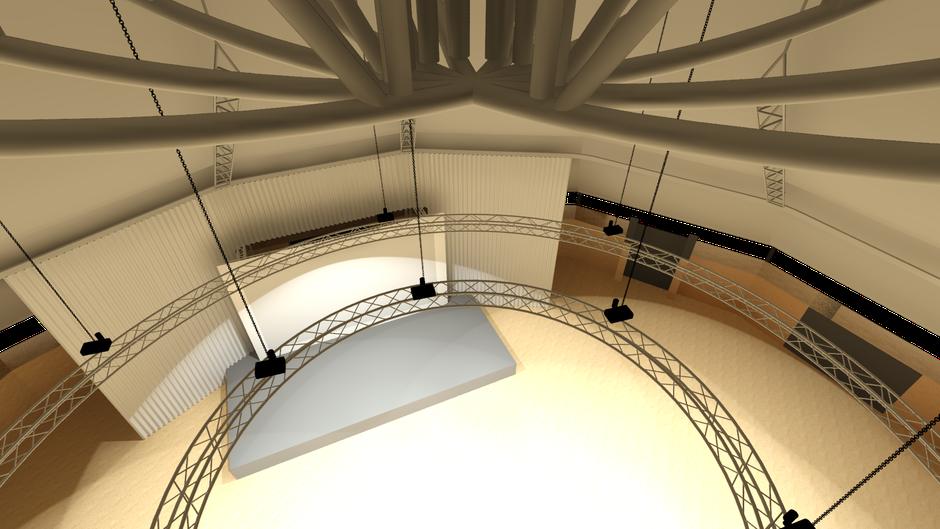 Europa-Park Dome - 3D Modell mit Blick vom Catwalk und weißem Vorhang, modelliert mit AutoSTAGE