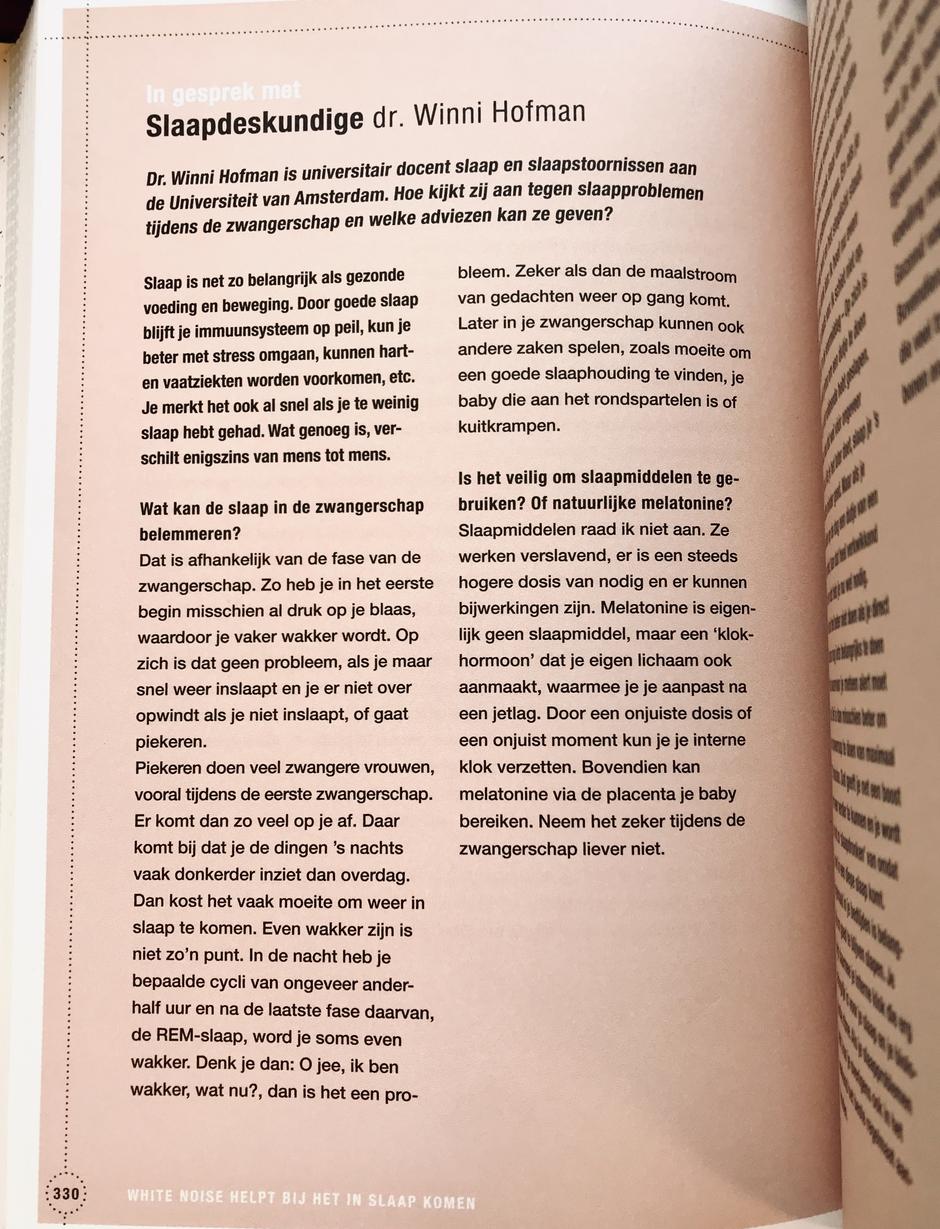 Foto 'Oei, ik groei! Het zwangerschapshandboek' pagina 330 - In gesprek met slaapdeskundige dr. Winni Hofman: Wat kan de slaap in de zwangerschap belemmeren? Is het veilig om slaapmiddelen te gebruiken?