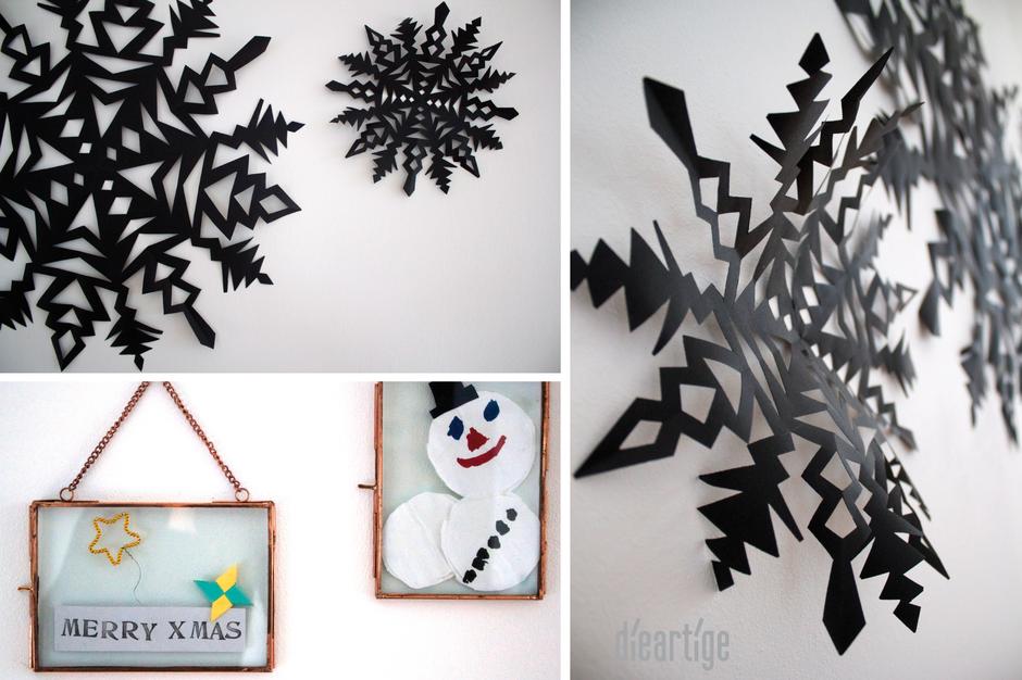 dieartige BLOG, Raumgestaltung, DIY, Weihnachts, Dekoration, Papier, Stern, schwarz, Kupferrahmen, Hübsch Interior