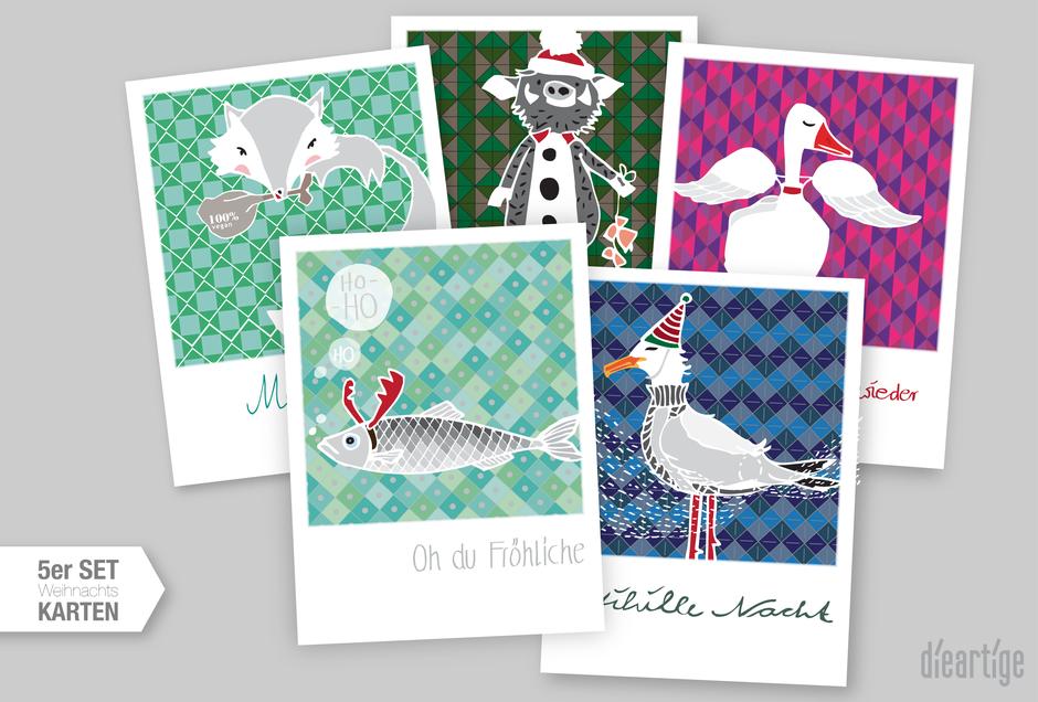 dieartige - Weihnachtskarten, Nordische Weihnachten, Postkarten
