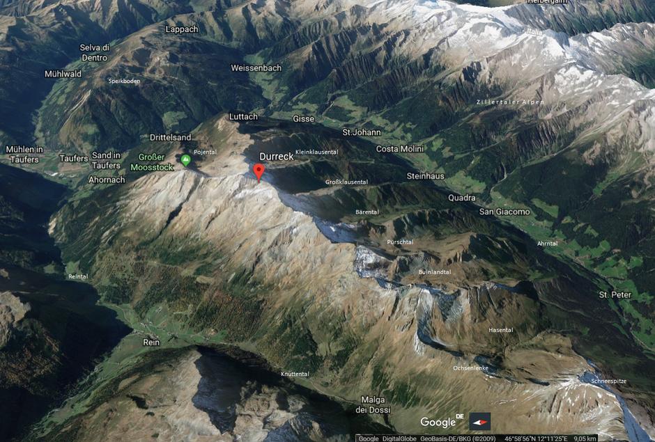 3-D-Google-Earth-View der Durreck-Gruppe aus südöstlicher Richtung (Link auf Google-Chrome)