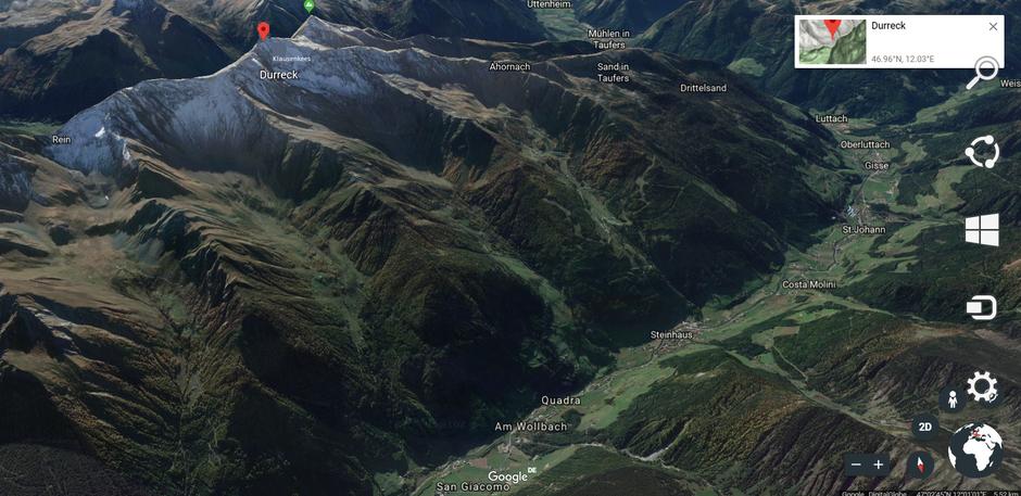 3-D-Google-Earth-View der Durreck-Gruppe aus nördöstlicher Richtung (Link auf Google-Chrome)