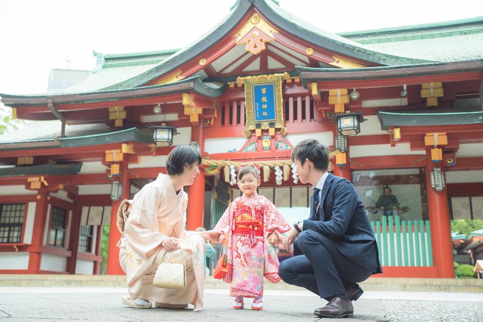 七五三撮影 出張カメラマン 出張撮影 3歳七五三 日枝神社 北井香苗 家族写真 ロケーションフォト 七五三