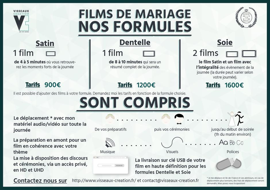 Flyer tarifs film de mariage par Visseaux Création: Formule 1 film et Formule 2 films.