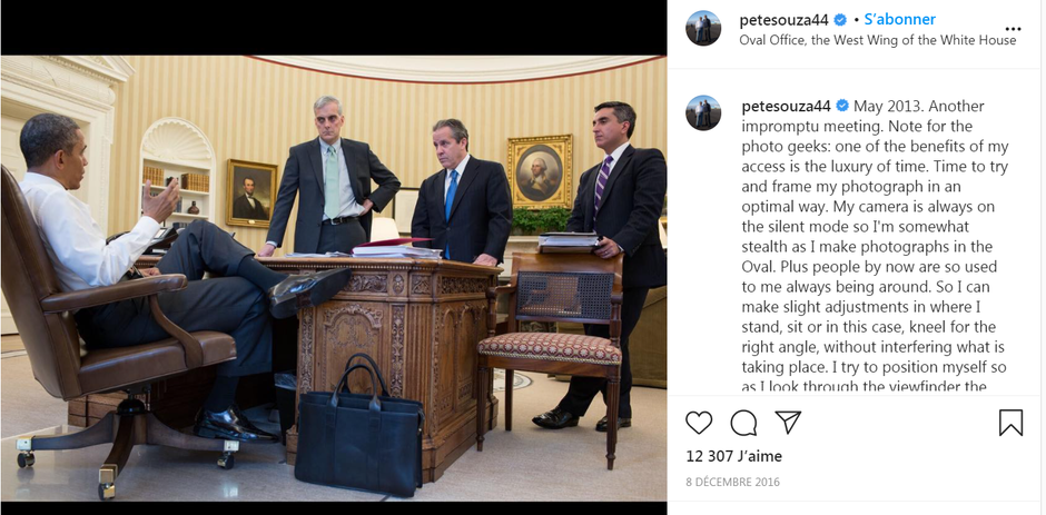Figure 4. A photo from Pete Souza taken in May 2013 and republished in 2016 on an Instagram account managed by the US National Archives