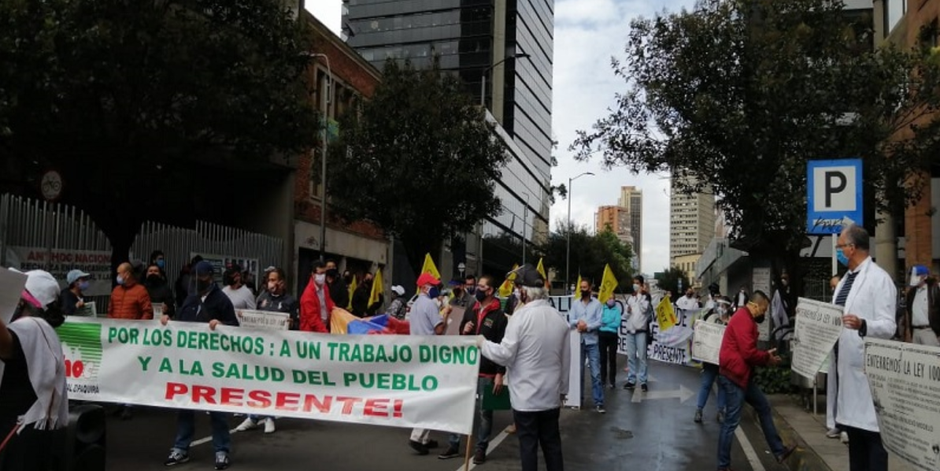 Colombian union protests (CUT, CGT and CTC) in Bogota at the beginning of June 2020 (June 11 photo. VTV)