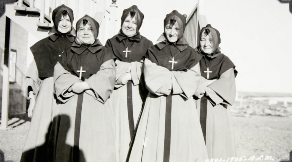 Nuns from the Catholic Chesterfield Inlet mission, Nunavut. They were probably the local clinic's nurses as well. 1935. Credit: D.L. McKeand / Library and Archives Canada / e004413854