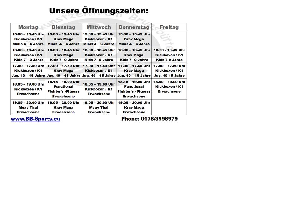Übersicht - Trainingsplan Kampfsportschule Brunsbüttel 2020