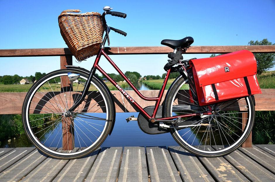 vélo d'occasion avec sacoches rouges