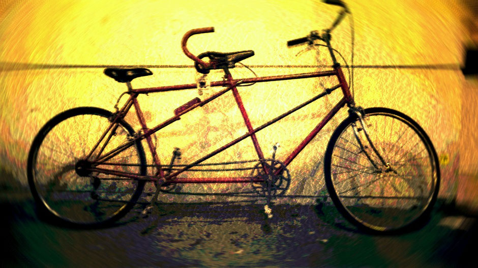 Vélo vintage tandem rouge
