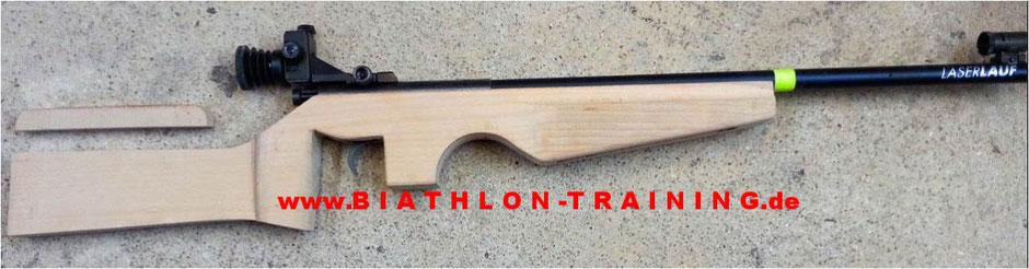 Laserbiathlon, Schaft, selbst bauen, Gewehr, Anschütz, Cross-Skating Biathlon, Skike, Schalke, Ziel, Holz, Köln, Bonn