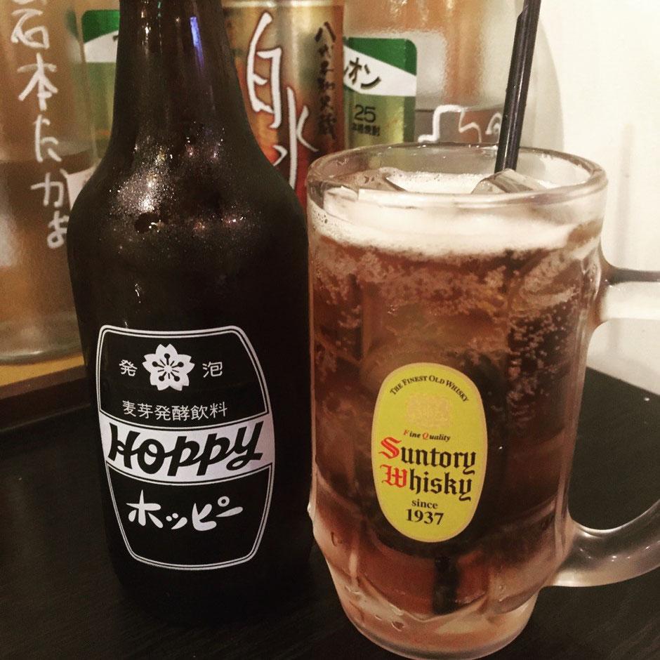 Hoppy Drink at Izakaya restaurant factory in Tokyo Chofu ホッピー 居酒屋 麦芽発酵飲料 工場 東京都調布市