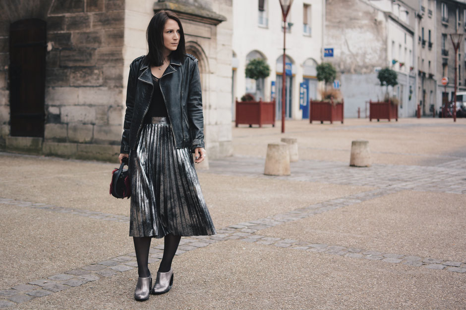 jupe plissée métallisée