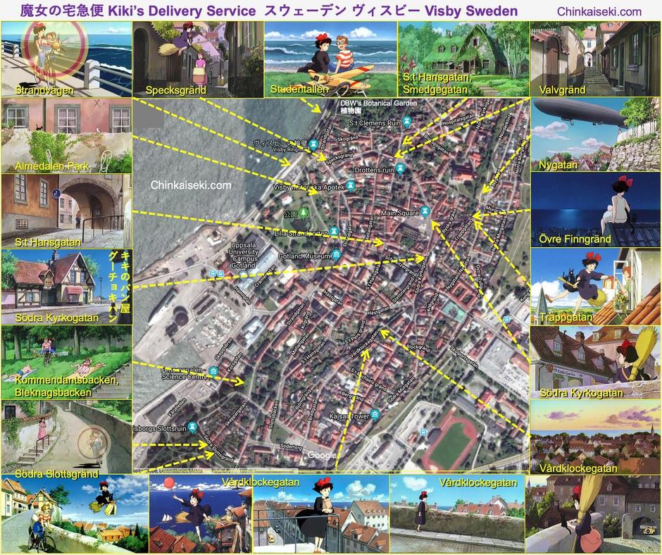 """魔女の宅急便モデル舞台ヴィスビー/ヴィスビューの地図。 Map of Visby, Gotland, Sweden on """"Kiki's Delivery Service""""."""