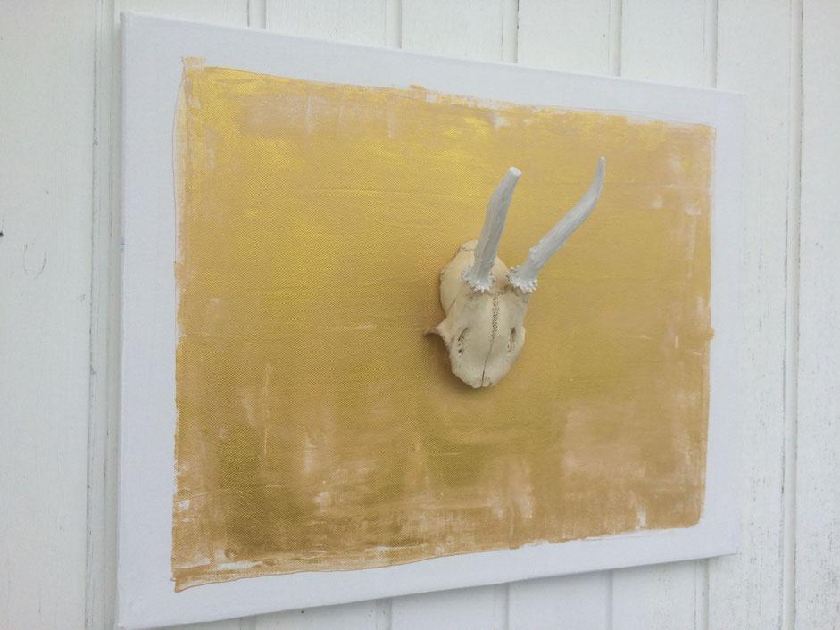 Geweih Kunst auf Leinwand Golden