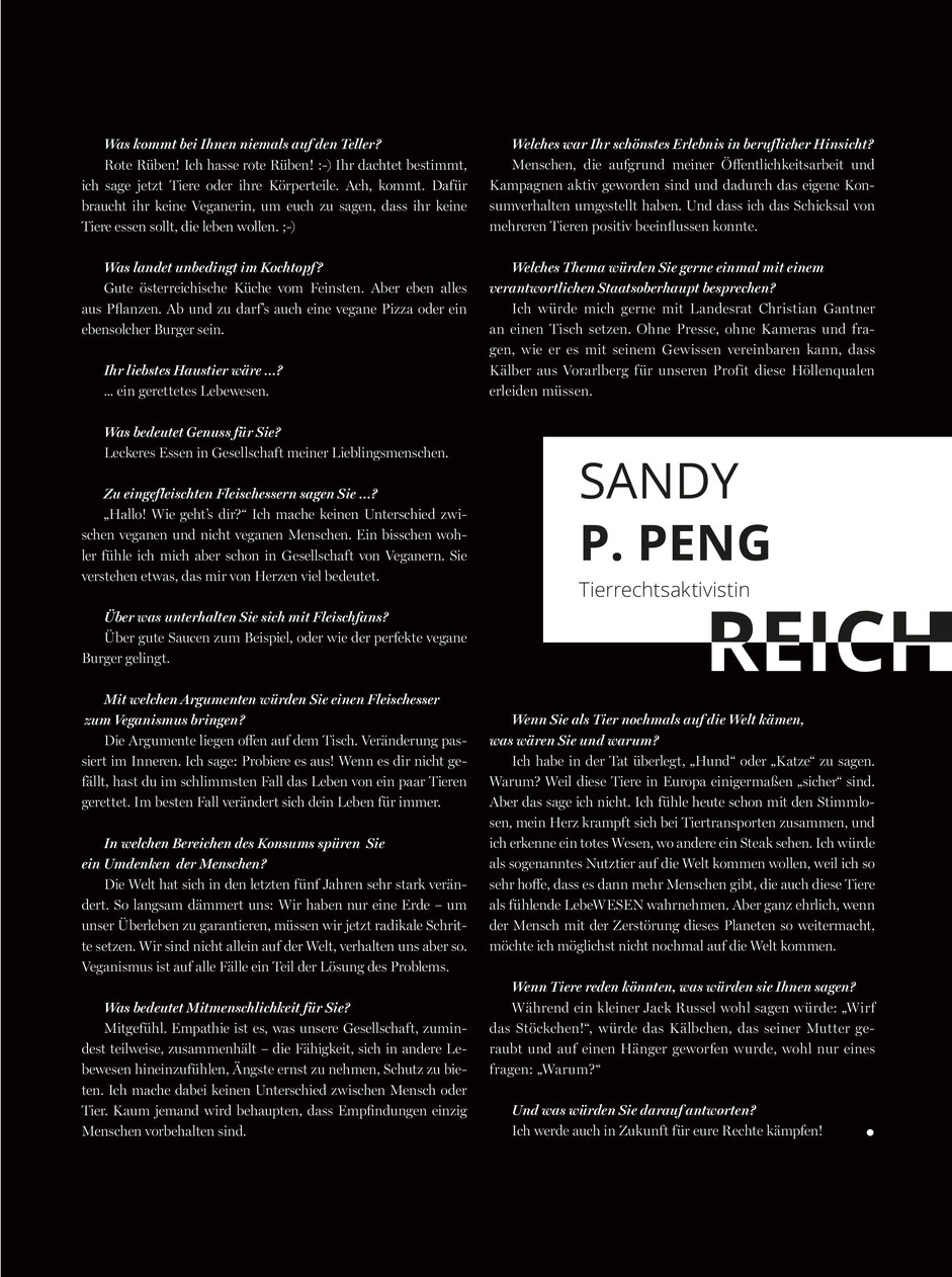Interview VORARLBERGERIN Magazin | Sandy P.Peng