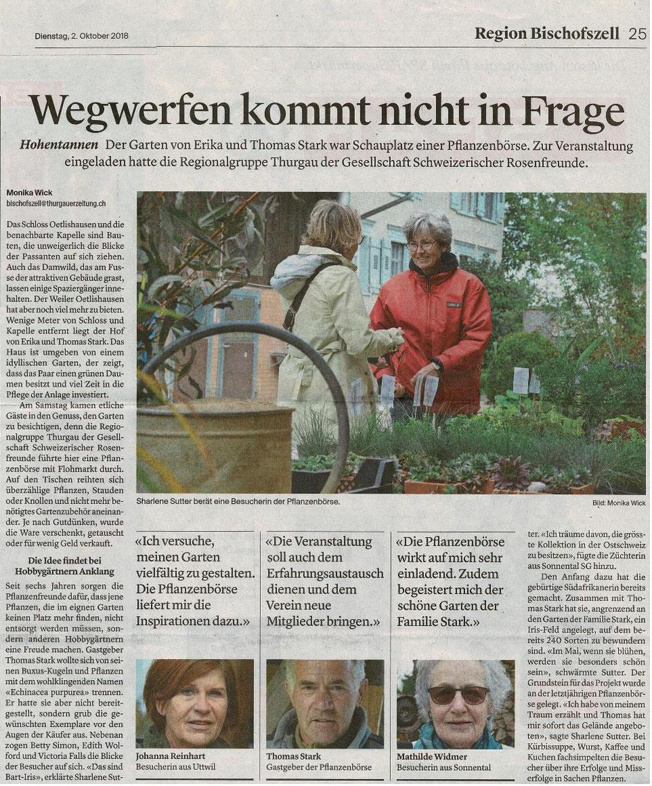 Thurgauzeitung, October 2018, Plant sale GSRF Thurgau at Oetlishausen