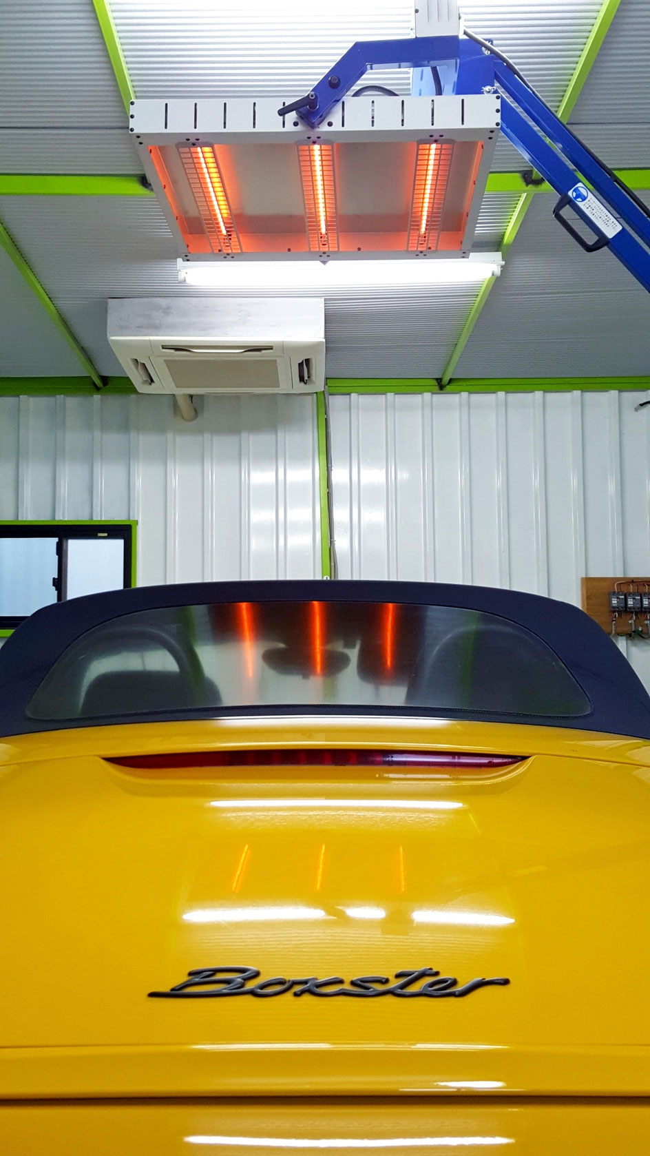 ボクスター幌コーティングの強制乾燥・焼き付け
