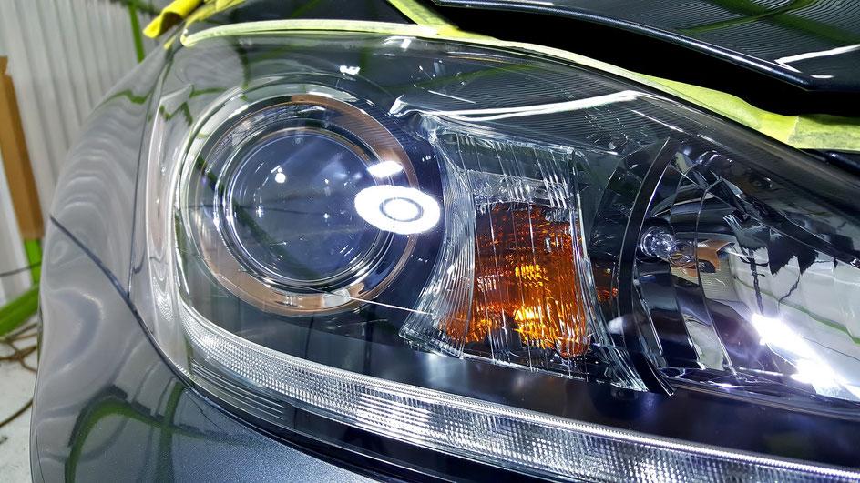 レクサスISヘッドライト磨き完成