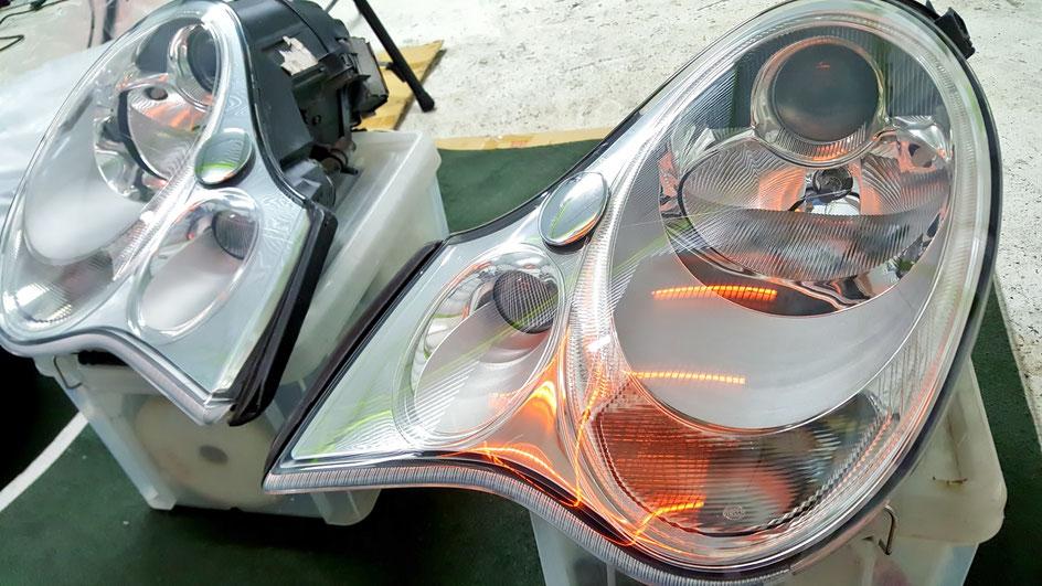 ポルシェ996ターボのヘッドライト磨き 世田谷 渋谷 埼玉所沢の車磨き専門店 東大和 八王子