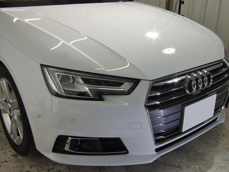 アウディA4新車のガラスコーティング完成 グレイシアホワイトメタリック