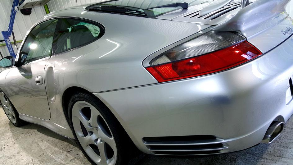 996ターボのナノガラスコーティング アークティックシルバーメタリック