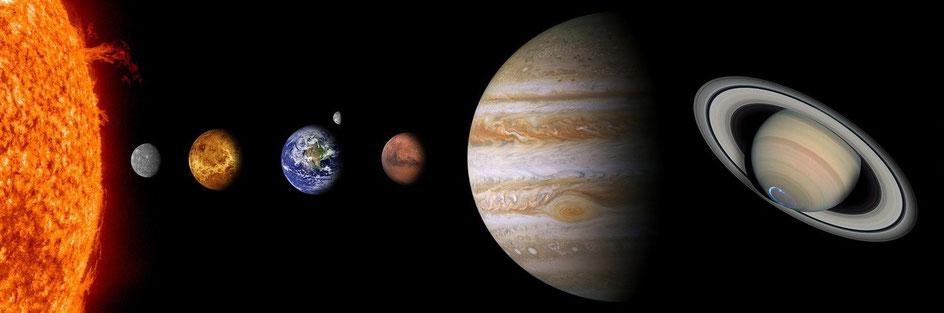 インド占星7惑星(太陽、水星、金星、地球、月、火星、木星、土星)