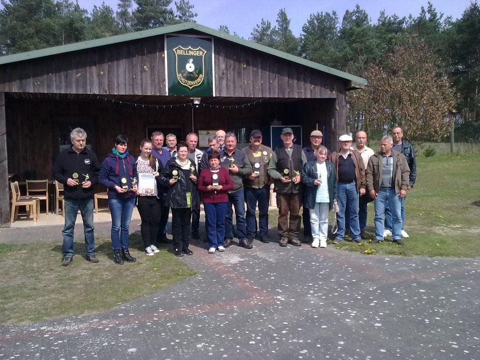 Teilnehmer der Vereinsmeisterschaft KK Lang- und Kurzwaffe 30.04.2016