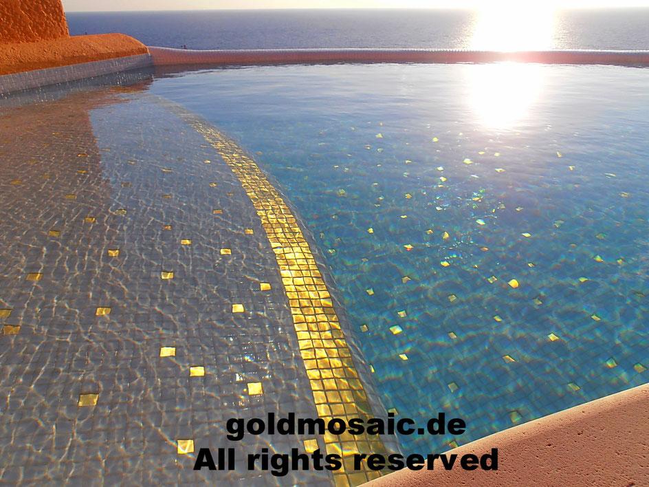Goldmosaik 24 Karat im Schwimmbad