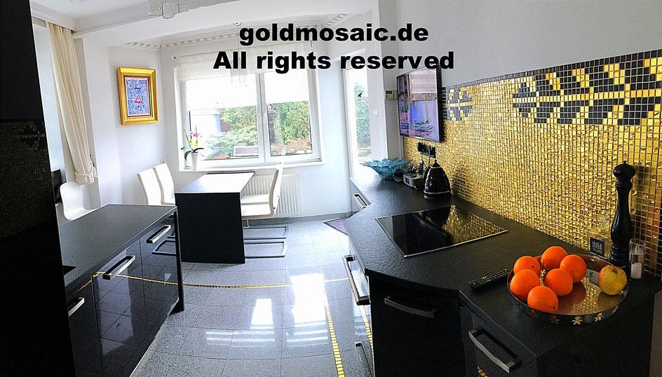 Goldmosaik 24 Karat in der Küche