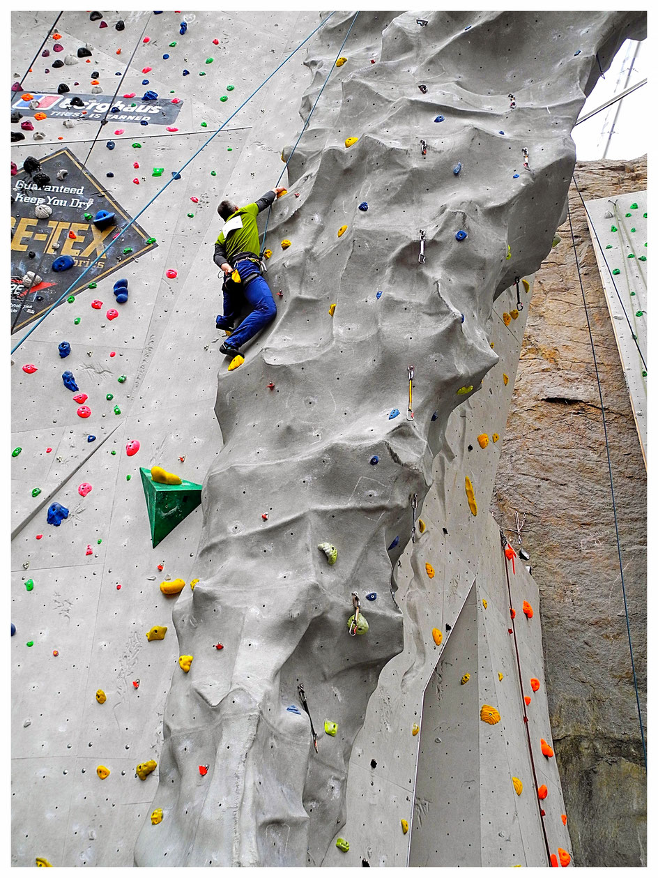 One of the longer routes of the Paraclimb event in Edinburgh in 2015.