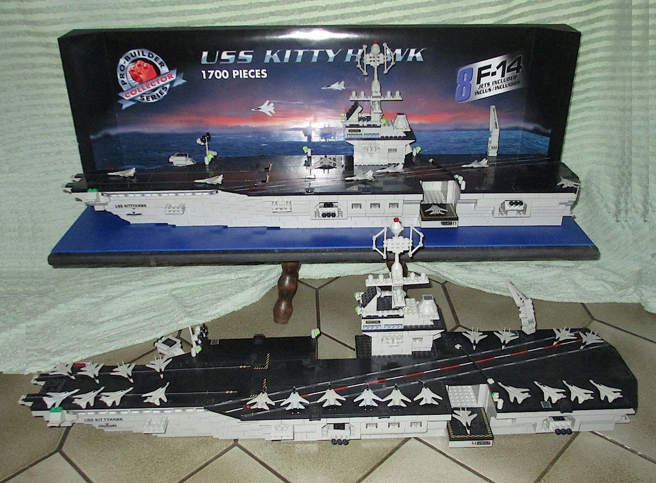 USS Kitty Hawk Probuilder Mega Bloks Display Case, vitrine d exposition showcase
