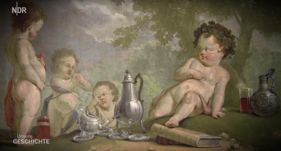 """Künstler verpönt Kaffee (17. Jahrhundert, unbekannter Maler), Copyrights: NDR, Screenshot aus """"Unsere Geschichte: Bier"""""""