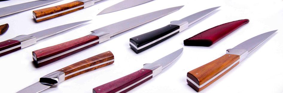 Küchenmesser, Damast Küchenmesser, Designmesser, Holzgriff, Thuja, amaranth, Grenadill, Pflaume, Niolox
